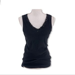 Emerald Women's Black Ribbed Tank- Appliqué Trim L